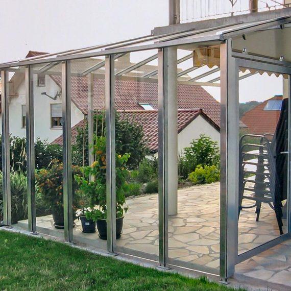 Terrasse Windschutz Schiebetüre